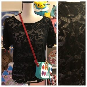Madewell black blouse with lace detailed front